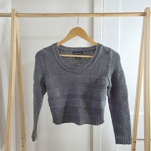 Cropped Sweater Long Sleeve Crop Ribbed Knit Gray